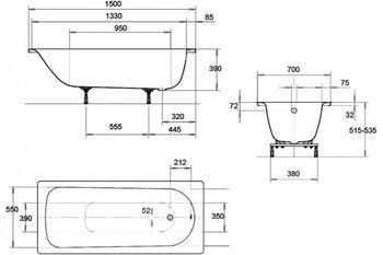 Ванна прямоугольная стальная Kaldewei Eurowa 150