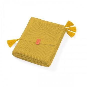 купить Одеяло бамбуковое с бахромой Babyono желтое в Кишинёве