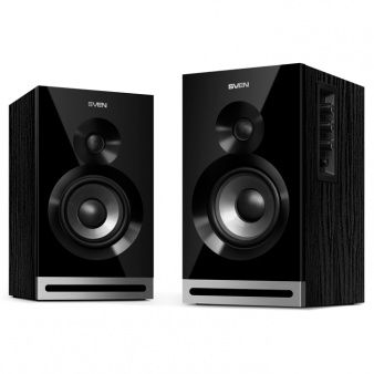 "SVEN SPS-705 Black,  2.0 / 2x20W RMS, Bluetooth, Control panel on the active speaker side panel,  headphone jack, wooden, (4""+3/4"")"