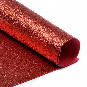 Глиттерный фоамиран. Цвет: Красный, А4
