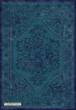 """Ковёр F-HE 497с142330 """"Медальон императора"""" темно зелёный с синим"""