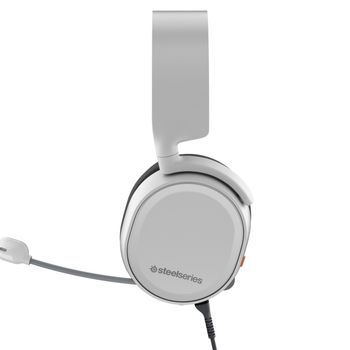 STEELSERIES Arctis 3 / Gaming Headset with retractable Best Mic in Gaming, ClearCast,  7.1 Surround Sound, 40mm neodymium drivers, Compatibility (PC/Mac/PS/Xbox/VR/Mobile), Cable lenght 3.0m, 3.5mm jack, White