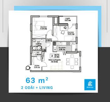 cumpără Apartament cu 2 camere + living - 63 m.p. în Chișinău