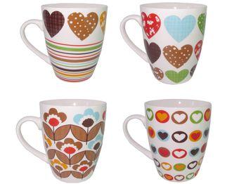 Чашка керамическая полоски/сердечки/цветы 360ml