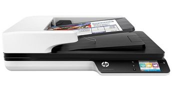 HP ScanJet Pro 4500 f1 Flatbed Scanner, Up to 30 ppm/60 ipm (300 dpi), up to 4000 pages daily, 50 sheets ADF, Single pass E-Duplex, Ultrasonic Multifeed detection, 2-line LCD, USB 2.0 & USB 3.0 (SuperSpeed), Ethernet 10/100/1000Base-TX