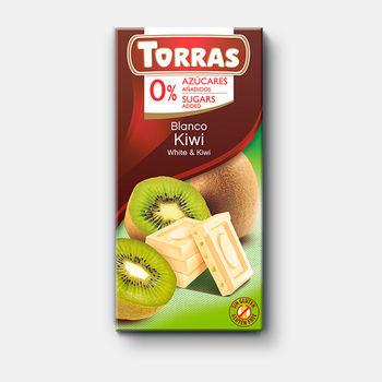 Ciocolata alba & kiwi Torras f/a zahar, f/a gluten 75g