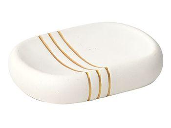 Sapuniera Golden Stripes, alba, ceramica