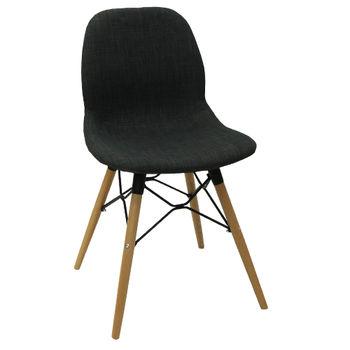cumpără Scaun din plastic tapiţat şi picioare din lemn cu suport din metal 485x460x855 mm, negru în Chișinău