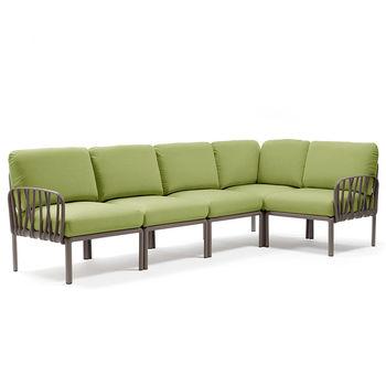 Диван с подушками Nardi KOMODO 5 TORTORA-avocado Sunbrella 40370.10.139 (Диван с подушками для сада и терас)
