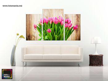 Картина напечатанная на холсте - Триптих  Тюльпаны 0001