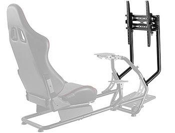 Lumi Classic Racing Simulator Cockpit Seat LRS03-BS with Monitor & Gear Shifter Mount, Black/Red, Seat Width: 450mm, Seat Gliding Track 180mm, Seat Back Tilt Range 30°~90°, Steering Wheel Panel Tilt Range: +25°~-35°, Pedal Panel Tilt Range: 0°/15°/27°