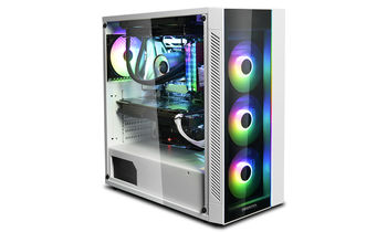 "DEEPCOOL ""MATREXX 55 ADD-RGB WH"" ATX Case, with Side-Window (full sized 4mm thickness), Tempered Glass Side & Front panel, without PSU, Tool-less, RGB LED Strip in the front, 2 extra connectors for 5V ADD-RGB dev., 1xUSB3.0, 2xUSB2.0 /Audio, White/BK"