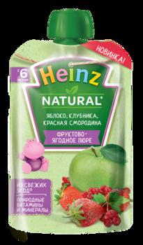 Пюре HEINZ Яблоко, клубника, красная смородина 90г (6 месяцев)