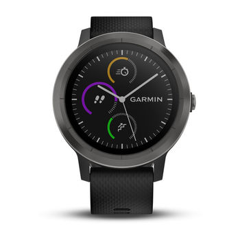 GARMIN Vivoactive 3 Black Silicone Slate, Activity Tracker, Timer, Stopwatch, Smart notificatiions, Step counter, Move bar, Sleep monitoring, Calories burned, Floors climbed, Heart Rate, Pool Swimming, GPS