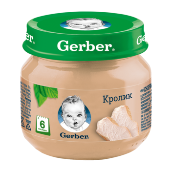Пюре Gerber из крольчатины, с 6 месяцев, 80г