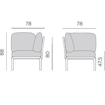 Кресло модуль угловой с подушками Nardi KOMODO ELEMENTO ANGOLO AGAVE-TECH panama 40374.16.131