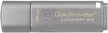 16GB USB3.0 Kingston DataTraveler Locker+ G3, Silver, Hardware encryption, Durable metal casing with built-in key loop, Superior password protection (Read 100 MByte/s, Write 12 MByte/s)