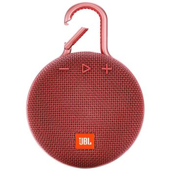 JBL Clip 3 Red / Bluetooth Portable Speaker, 3W (1x3W) RMS, BT Type 4.1, Frequency response: 120Hz – 20kHz, IPX7 Waterproof, Speakerphone,  1000mAh rechargeable Lithium-ion battery, JBL Connect, Power Supply: 5V / 0.6A, Battery life (up to) 10 hr