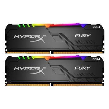 32GB (Kit of 2*16GB) DDR4-3466 HyperX® FURY DDR4 RGB, PC27700, CL16, 1.2V, Auto-overclocking, Asymmetric BLACK heat spreader, Dynamic RGB effects featuring HyperX Infrared Sync technology, Intel XMP Ready  (Extreme Memory Profiles)