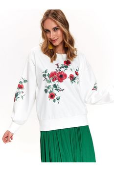 Pulover TOP SECRET Alb cu imprimeu floral SBL0683BI