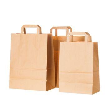 Бумажные крафт пакеты с плоскими ручками 18*9*25