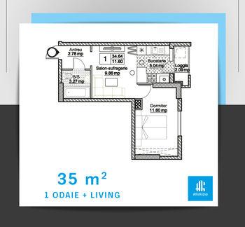 cumpără Apartament cu 1 cameră + living  - 35 m.p. în Chișinău