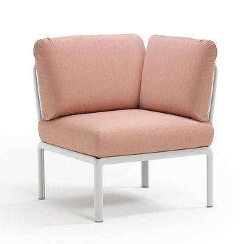 Кресло модуль угловой с подушками Nardi KOMODO ELEMENTO ANGOLO BIANCO-rosa quarzo 40374.00.066