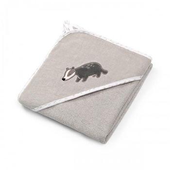 купить Полотенце велюровое Babyono с капюшоном (100x100 см) серое в Кишинёве