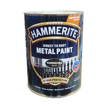 Hammerite Краска для металла Черная молотковая 0.75л