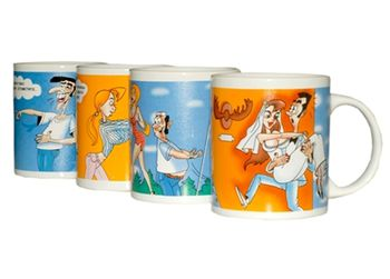 cumpără Cana din ceramica D8.5, H9.5cm, linii multicolore în Chișinău