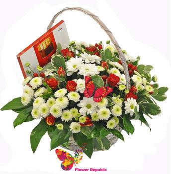 "купить Корзина с цветам ""Merci"" в Кишинёве"