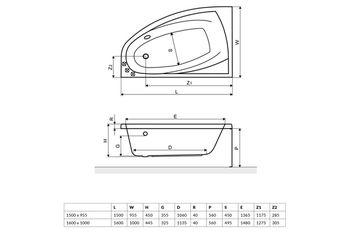Ванна асимметричная Excellent Aquaria Comfort 160
