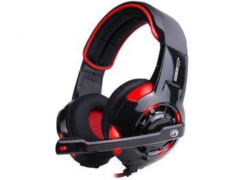"MARVO ""HG9005RD"", USB Gaming Headset, Microphone, 40mm driver unit, 7.1 virtual surround sound with USB adapter, Volume control, Adjustable headband, Body and mic lighting, Braided cable, 2.7 m,  Black-Red"