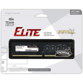 16GB DDR4 Team Elite 16GB DDR4 (TED416G2666C1901) PC4-21300 2666MHz CL19, Retail (memorie/память)