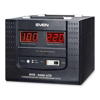 SVEN AVR-3000 LCD, 3000VA /2100W, Automatic Voltage Regulator, 1x Schuko outlets, Input voltage: 100-280V, Output voltage: 220V ± 8%, digital indicators of input and output voltage on the front panel, Pause function
