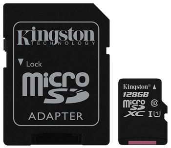 Kingston 128GB microSDHC Canvas Select Class10 UHS-I with SD adapter, 400x, Up to: 80MB/s