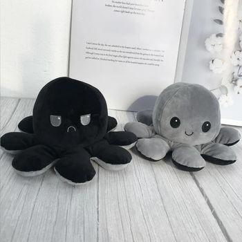 Octopus Plush Reversible, Gray & Black