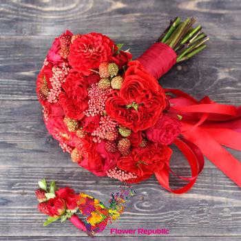 купить Ярко- красный букет невесты в Кишинёве