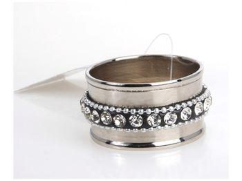 Кольцо для салфетки с бусинками никелированное D4.5сm
