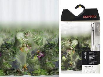 Шторка для душа 180X200cm Jungle, полиэстер, зеленый
