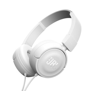 JBL TUNE 500 / On-ear Headset with microphone, Dynamic driver 32 mm, Frequency response 20 Hz-20 kHz, 1-button remote with microphone, JBL Pure Bass sound, Tangle-free flat cable, 3.5 mm jack, White