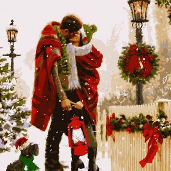 """Картина по номерам """"Рождество с любовью"""", 4 *, 20 цветов, 40x50 см."""