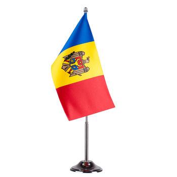купить Флажок настольный из атласа 22x11 см на металлическом флагштоке - Молдова или друге страны в Кишинёве