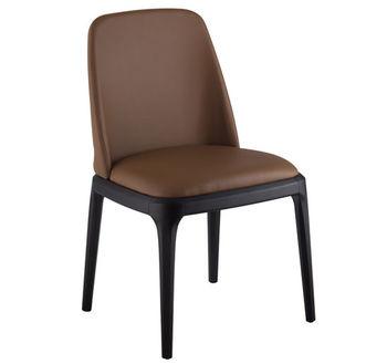 купить Деревянный стул с коричневым мягким сиденьем и черными ногами, 560x530x490 мм/560x220x410 мм в Кишинёве