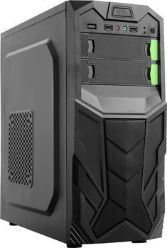 HPC B-25  ATX Case, (500W, 24 pin, 2xSATA, 12cm fan), 2xUSB2.0 / HD Audio, Black + Green decoration