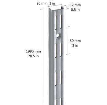 купить Настенные рельсы с 2-рядным слотом 1995 мм, серый в Кишинёве