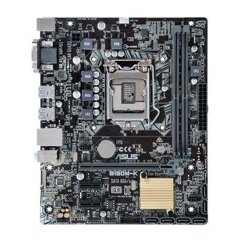 ASUS B150M-K, Socket 1151, Intel® B150, Dual 2xDDR4-2133, 1xPCIe X16, CPU Intel graphics, DVI, 6xSATA3, 2xPCIe X1, ALC887 7.1ch HDA, GigabitLAN, 6xUSB3.0, 5X Pro.II, mATX