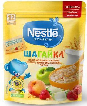 купить Nestle каша Шагайка мультизлаковая молочная с яблоко, земляника и персик, 220 гр в Кишинёве