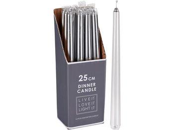 Свеча 25cm, серебрянный металлик