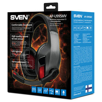 SVEN AP-U995MV, Gaming Headphones with microphone,  External sound card 7.1 (USB), Headphone and microphone LED backlight  Non-tangling cable with fabric braid, Cable length: 2.2m, Black/Red